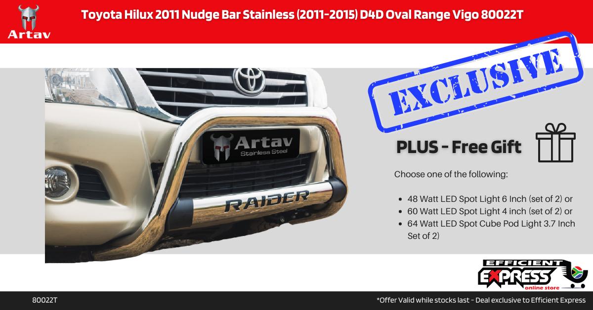 Toyota Hilux 2011 Nudge Bar Stainless (2011-2015) D4D Oval Range Vigo 80022T