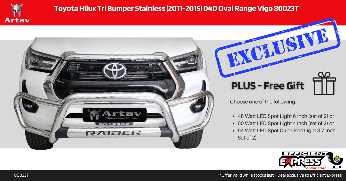 Toyota Hilux Tri Bumper Nudge Bar Stainless 2016+ Oval Range Hilux GD6 80059T