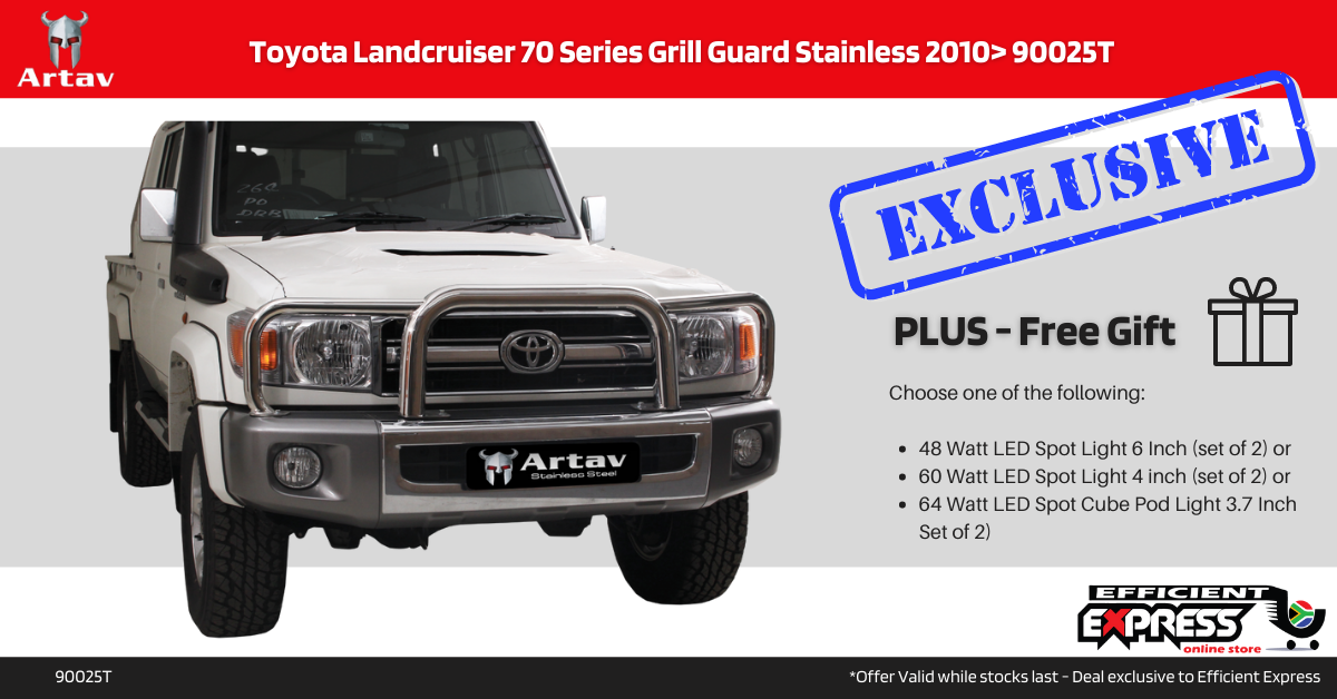 Toyota Landcruiser 70 Series Grill Guard Nudge Bar Stainless 2010> 90025T