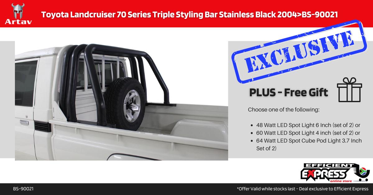 Toyota Landcruiser 70 Series Triple Styling Bar Roll Bar Stainless Black 2004>BS-90021