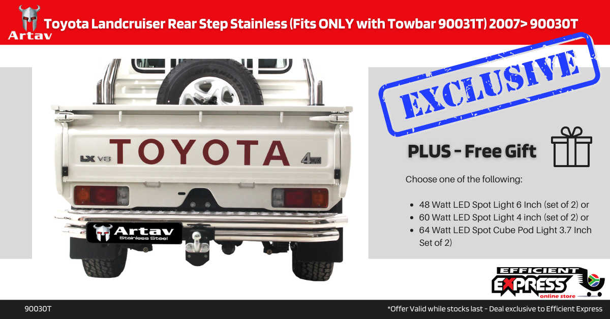Toyota Landcruiser Rear Step Stainless Rear Bumper (Fits ONLY With Towbar 90031T) 2007> 90030T