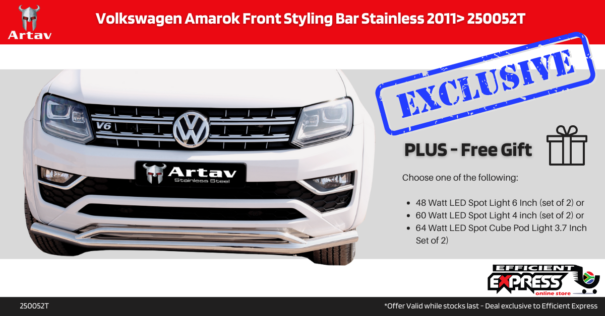 Volkswagen Amarok Front Styling Bar Nudge Bar Stainless 2011+ 250052T